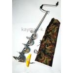 Ледобур 2-х лопастной 150мм титановый стандартный ручка-Рапала, удлиненная спираль (ФУДС150)