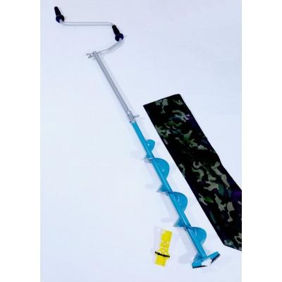 Ледобур стальной 2-х лопастной 130мм  ручка-Рапала,удлиненная спираль,ДВОЙНОГО сложения(ЛРФД)